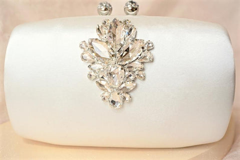Ivory Rhinestone and Crystal  Satin Hard Case
