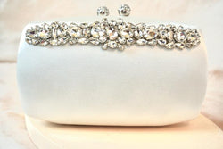 Ivory Satin Rhinestone and Crystal Clutch,