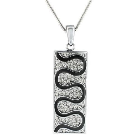 LO1182 Rhodium Brass Pendant with Top Grade Crystal in Clear