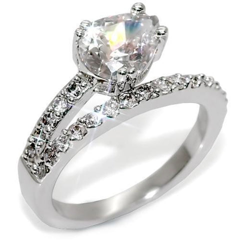 LO1506 Rhodium Brass Ring with AAA Grade CZ in Clear