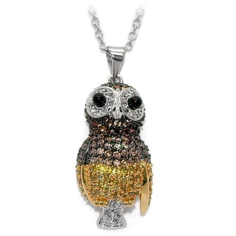 LO1554 Rhodium+Gold+ Ruthenium Brass Chain Pendant with AAA Grade CZ in Multi Color