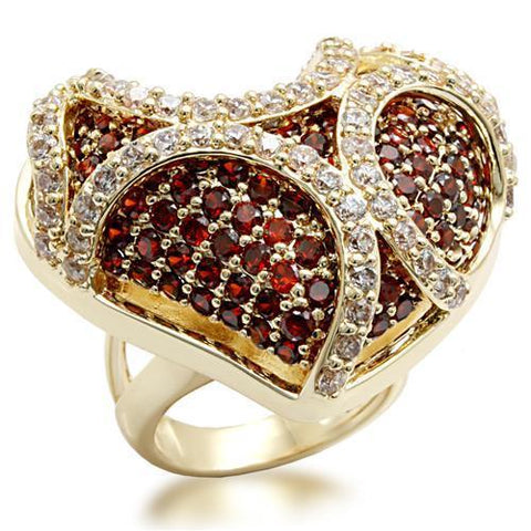 LO1597 Imitation Gold Brass Ring with AAA Grade CZ in Garnet