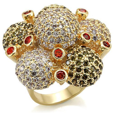 LO1600 Imitation Gold Brass Ring with AAA Grade CZ in Garnet