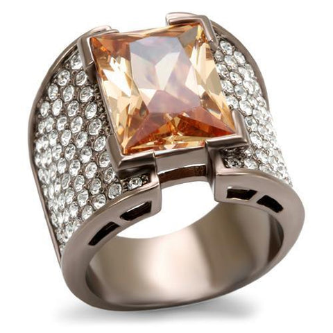 LO1686 Chocolate Gold Brass Ring with AAA Grade CZ in Champagne