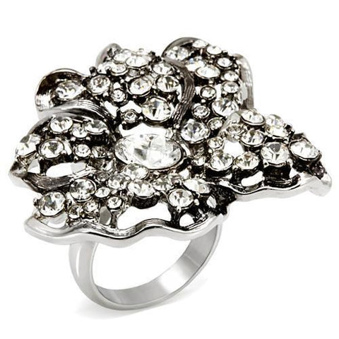 LO1829 Imitation Rhodium Brass Ring with Top Grade Crystal in Clear