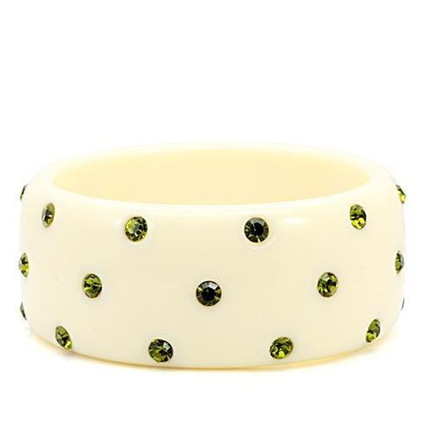 LO1904 N/A Resin Bangle with Top Grade Crystal in Olivine color