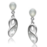 LO1978 Rhodium White Metal Earrings with Top Grade Crystal in Clear
