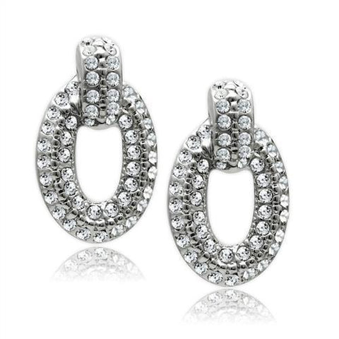 LO1986 Rhodium White Metal Earrings with Top Grade Crystal in Clear