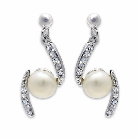 LO2044 Rhodium Brass Earrings with Synthetic in White