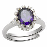 LO2073 Rhodium Brass Ring with AAA Grade CZ in Amethyst