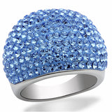 LO2083 Rhodium Brass Ring with Top Grade Crystal in Light Sapphire