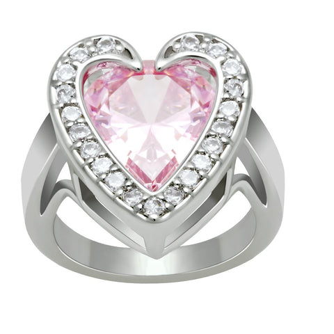 LO2087 Rhodium Brass Ring with AAA Grade CZ in Rose