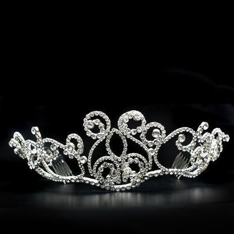 LO2113 Imitation Rhodium Brass Tiaras & Hair Clip with Top Grade Crystal in Clear