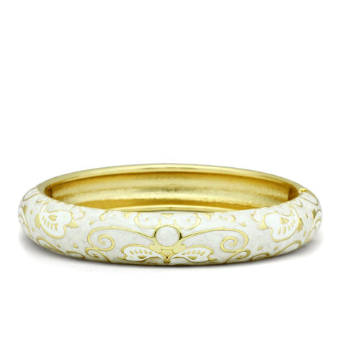 LO2147 Flash Gold White Metal Bangle with Epoxy in No Stone