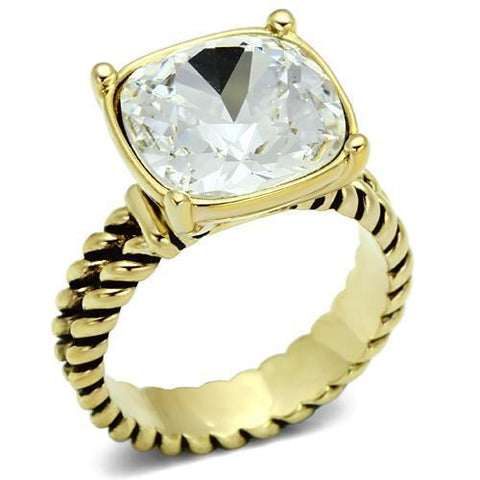 LO2447 Gold Brass Ring with AAA Grade CZ in Clear