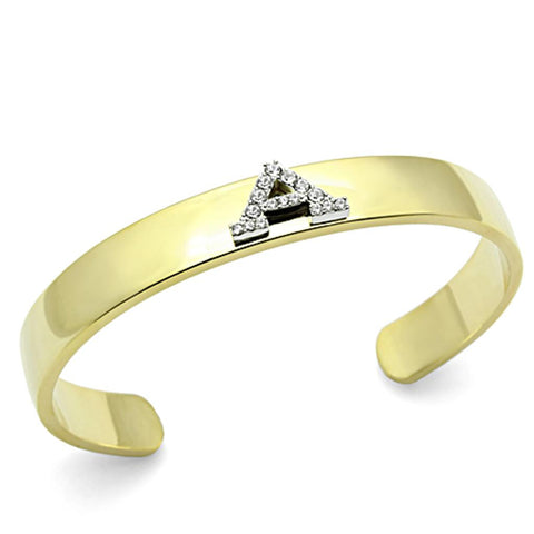 LO2570 Gold+Rhodium White Metal Bangle with Top Grade Crystal in Clear