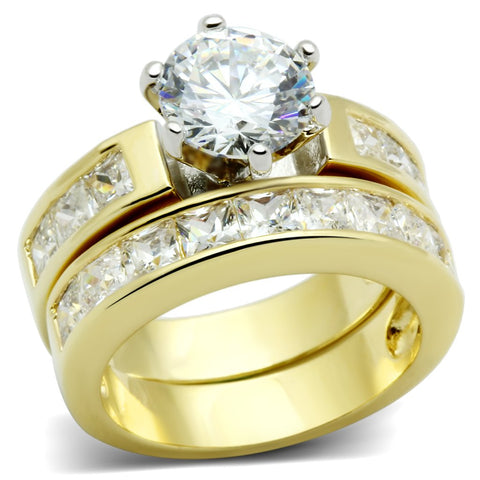 LO2603 Gold+Rhodium Brass Ring with AAA Grade CZ in Clear