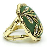 LO2609 Gold Brass Ring with Semi-Precious in Emerald