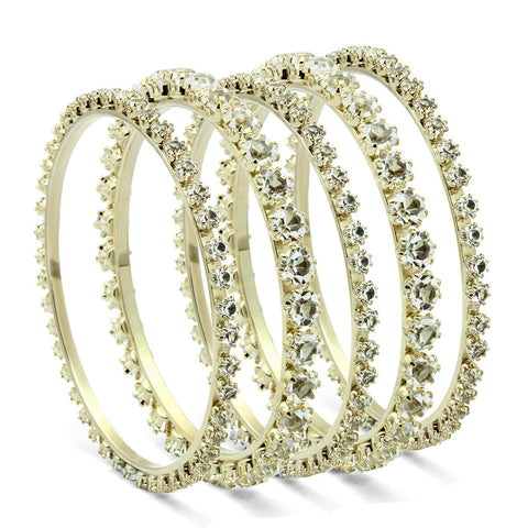 LO2617 Gold Brass Bangle with Top Grade Crystal in Clear