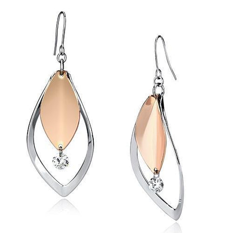 LO2684 Rose Gold + Rhodium Iron Earrings with AAA Grade CZ in Clear