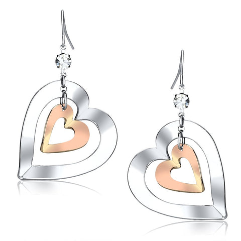 LO2695 Rose Gold + Rhodium Iron Earrings with Top Grade Crystal in Clear