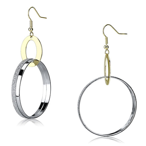 LO2706 Reverse Two-Tone Iron Earrings with No Stone in No Stone
