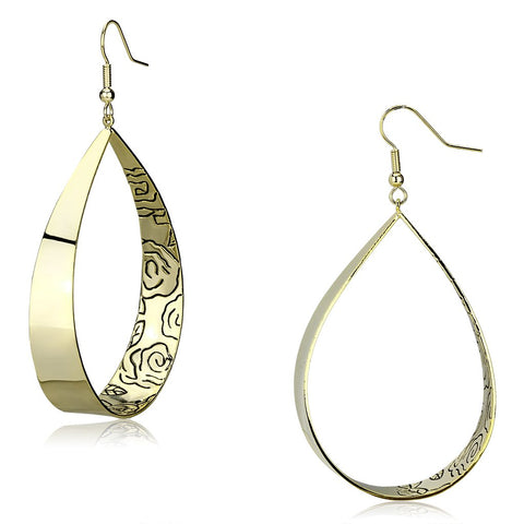 LO2721 Gold Iron Earrings with No Stone in No Stone