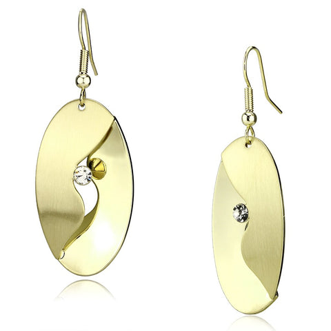 LO2744 Matte Gold & Gold Iron Earrings with Top Grade Crystal in Clear