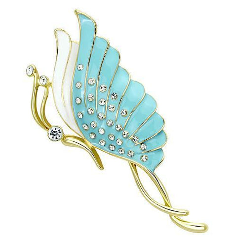 LO2771 Flash Gold White Metal Brooches with Top Grade Crystal in Clear