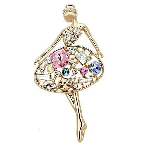 LO2818 Flash Rose Gold White Metal Brooches with Top Grade Crystal in Multi Color