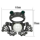 LO2845 Ruthenium White Metal Brooches with Synthetic in White