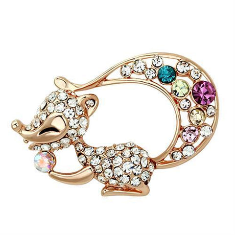LO2889 Flash Rose Gold White Metal Brooches with Top Grade Crystal in Multi Color