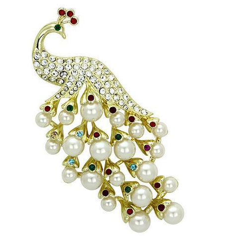 LO2933 Flash Gold White Metal Brooches with Synthetic in White