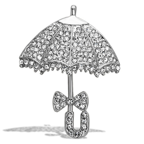 LO2936 Imitation Rhodium White Metal Brooches with Top Grade Crystal in Clear