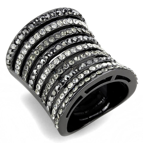 LO2967 Ruthenium Brass Ring with Top Grade Crystal in Black Diamond