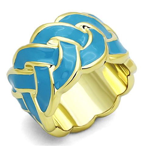 LO3010 Gold Brass Ring with Epoxy in Sea Blue