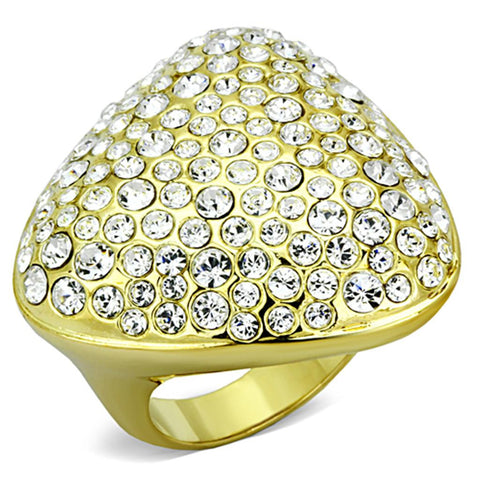 LO3024 Gold Brass Ring with Top Grade Crystal in Clear