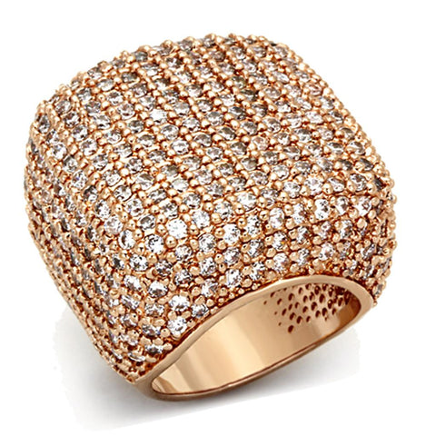 LO3038 Rose Gold Brass Ring with AAA Grade CZ in Clear