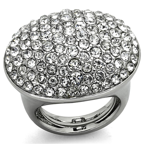 LO3149 Rhodium Brass Ring with Top Grade Crystal in Clear