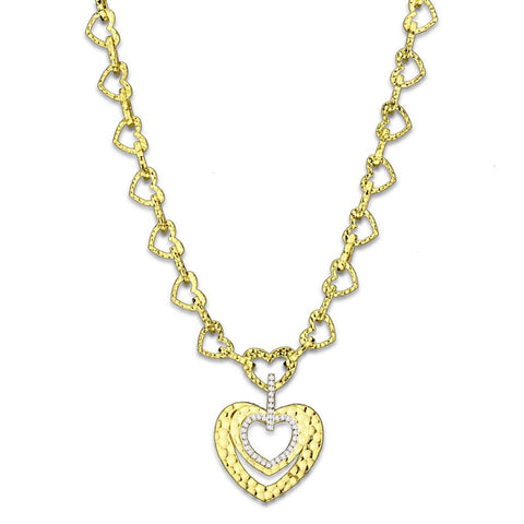LO3341 Gold Brass Necklace with AAA Grade CZ in Clear