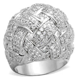 LO3352 Rhodium Brass Ring with AAA Grade CZ in Clear