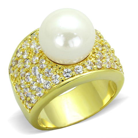 LO3385 Gold Brass Ring with Synthetic in White