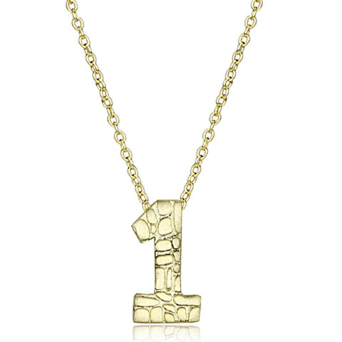LO3460 Flash Gold Brass Chain Pendant with Top Grade Crystal in Clear