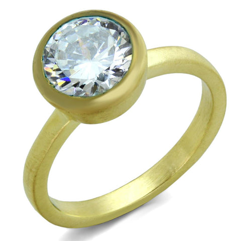 LO3538 Gold & Brush Brass Ring with AAA Grade CZ in Clear