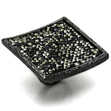 LO3589 TIN Cobalt Black Brass Ring with Top Grade Crystal in Light Gray