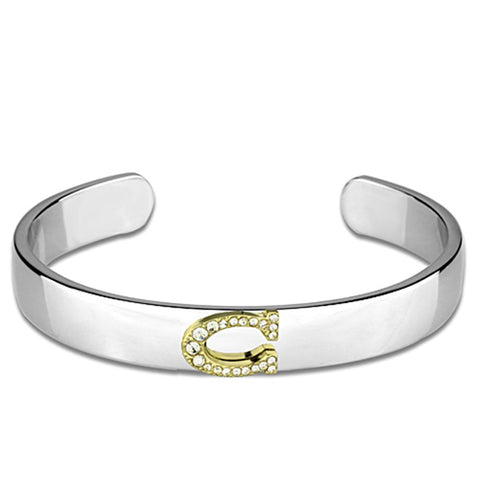 LO3613 Reverse Two-Tone White Metal Bangle with Top Grade Crystal in Clear