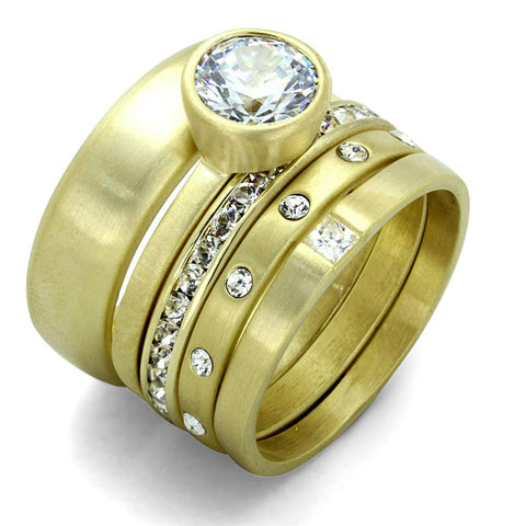 LO3645 Gold & Brush Brass Ring with AAA Grade CZ in Clear