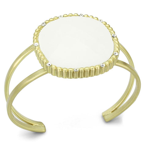 LO3664 Gold & Brush Brass Bangle with Synthetic in White