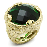 LO3675 Gold & Brush Brass Ring with Synthetic in Emerald