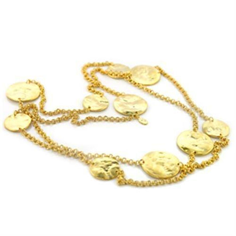 LO367 Gold Brass Necklace with No Stone in No Stone